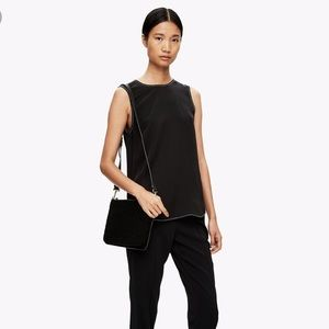 Theory Crease-Stitch Silk Tank Top in Black